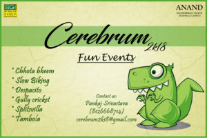 19th Annual Techno-Cultural Fest- CEREBRUM  2K18 @ CV Raman Hall